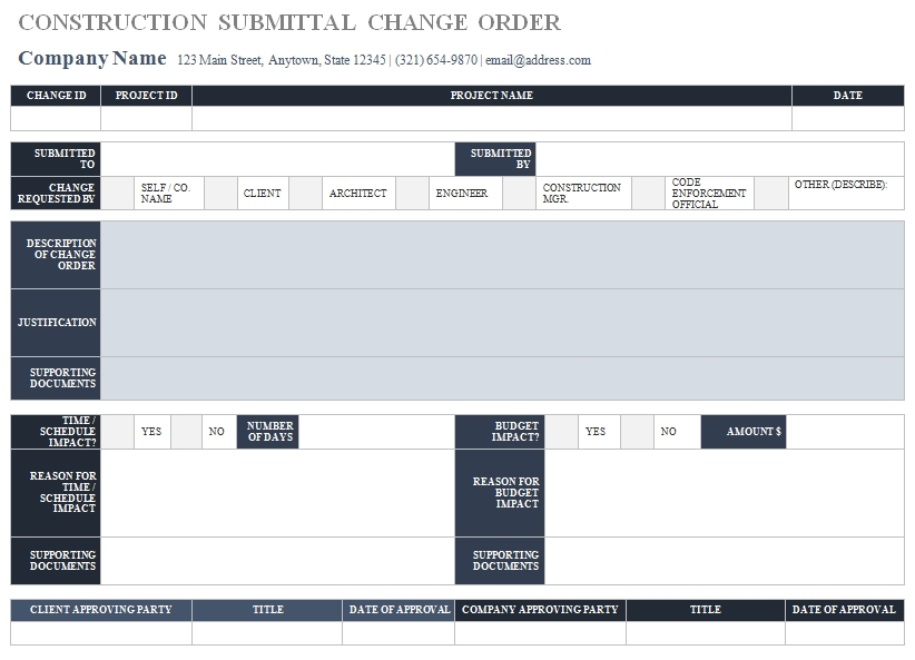 Templates Construction Submittal Order 2 Example