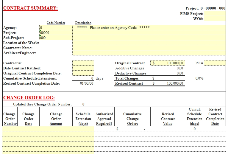 Templates Contract Summary Change Order Excel Example