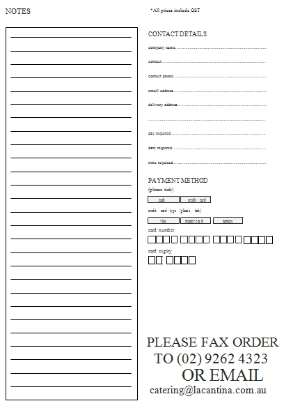 Templates Corporate Catering Order 4 Example