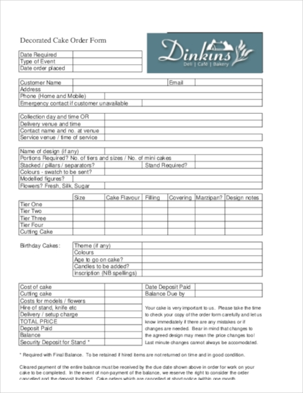 Templates Decorated Cake Order Form Example
