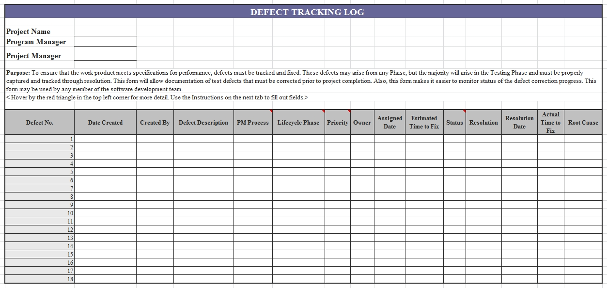 Templates Defect Tracking Log Excel Example