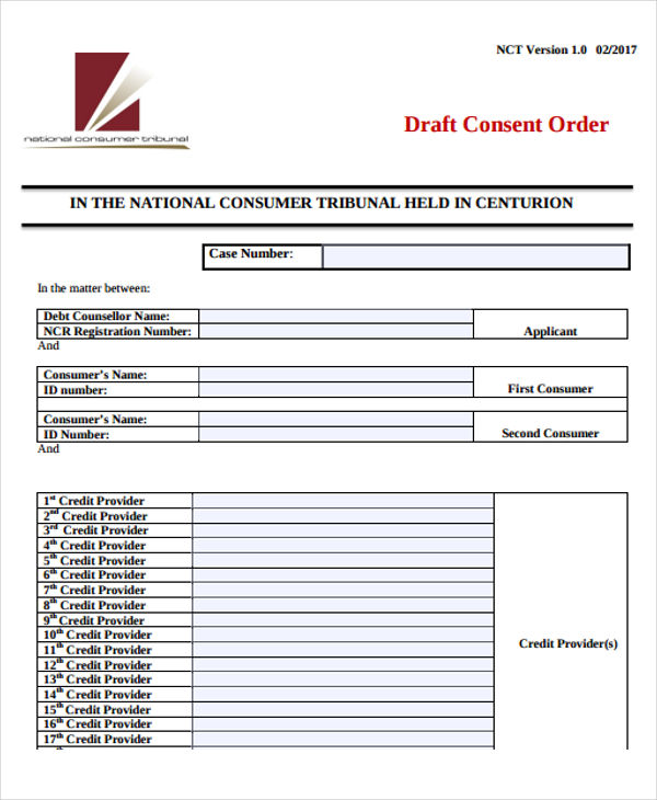 Templates Draft Consent Order Example
