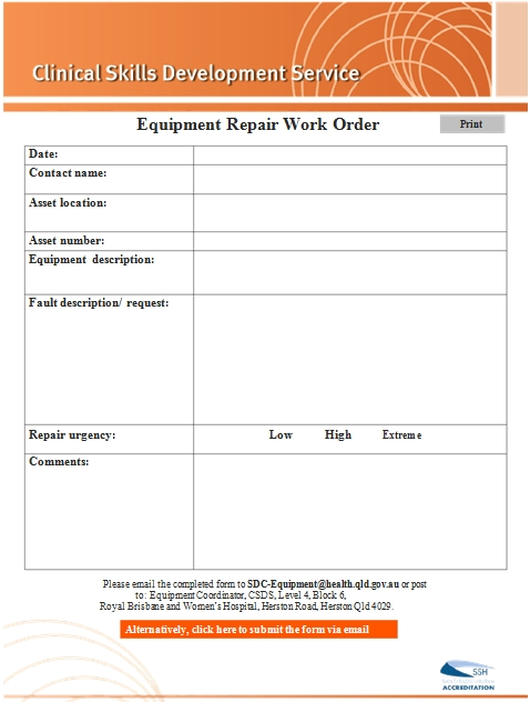 Templates Equipment Repair Work Order Example