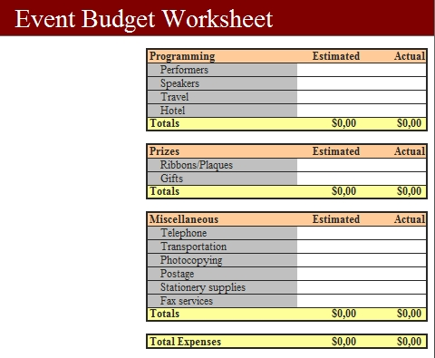 Templates Event Budget Fundraising Order Worksheet1 2 Example