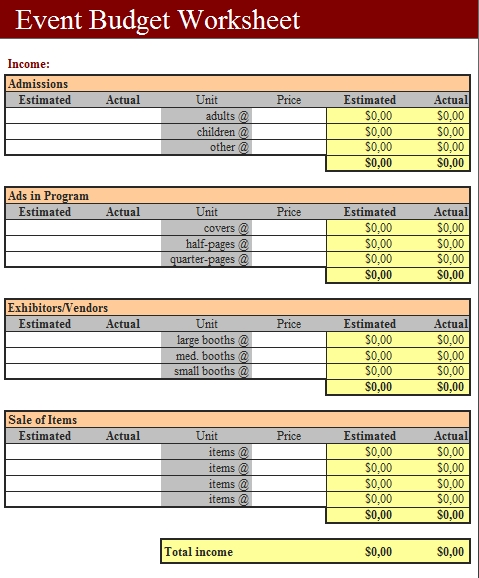 Templates Event Budget Fundraising Order Worksheet1 3 Example