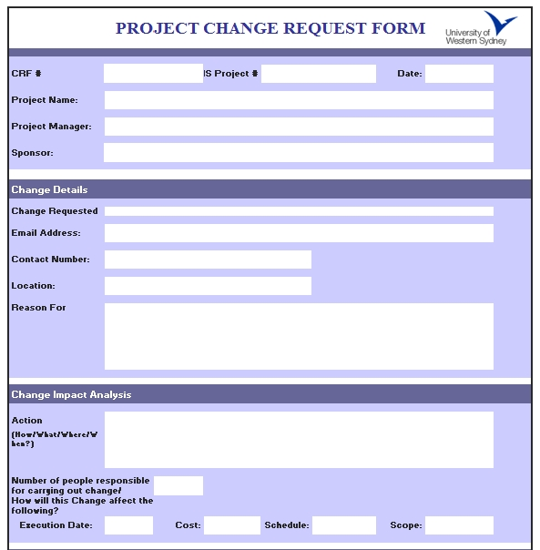 Templates Excel Project Change Order Request Form Example