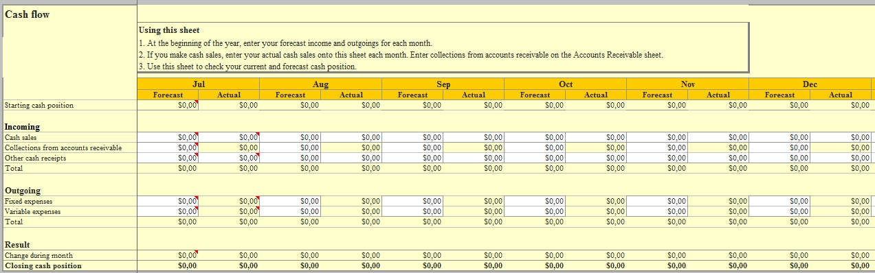 Templates Excel for Cash Flow Order Tracker 1 Example