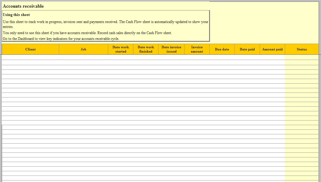 Templates Excel for Cash Flow Order Tracker 2 Example