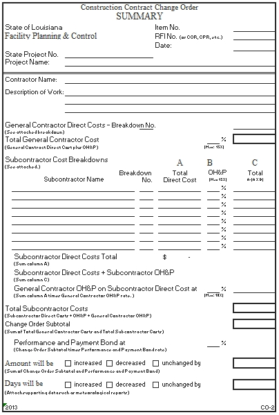 Templates Facility Planning Change Order Excel 2 Example