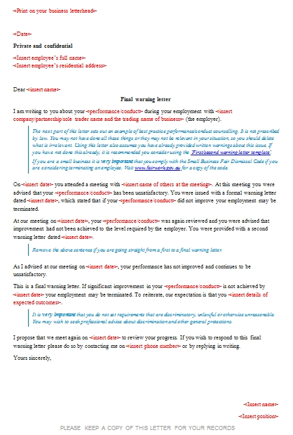 Templates Final warning letter 1 Example