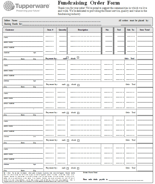 Templates Fundraiser Order Example