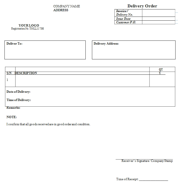 Templates Goods Delivery Order Example