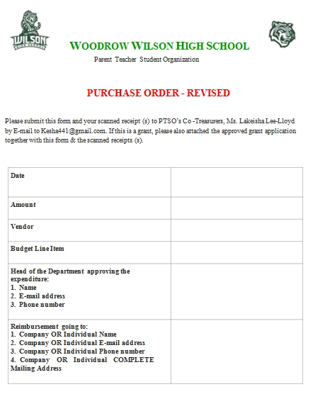 Templates High School Purchase Order Example