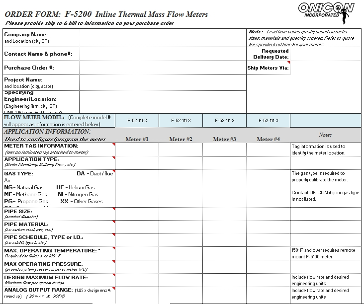 Templates Insertion Order Meter Excel Form Example