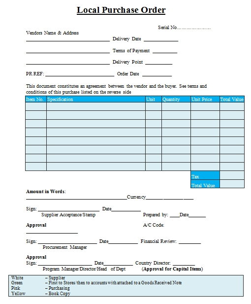 Templates Local Purchase Order Example 1