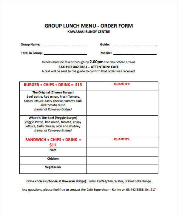 Templates Lunch Menu Example