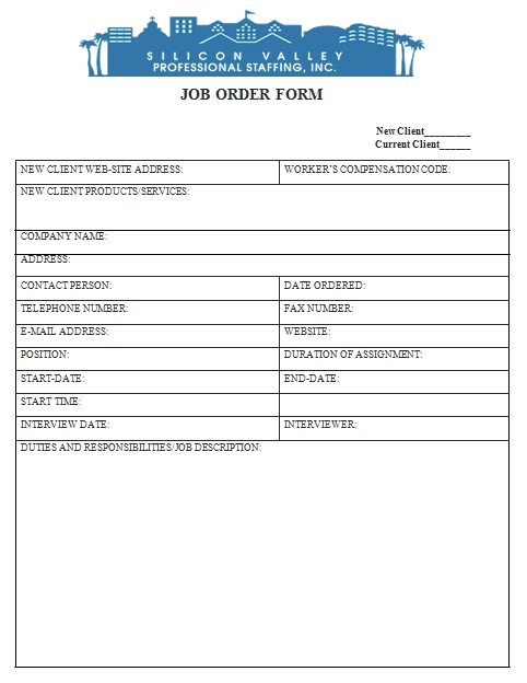 Templates New Job Order Example