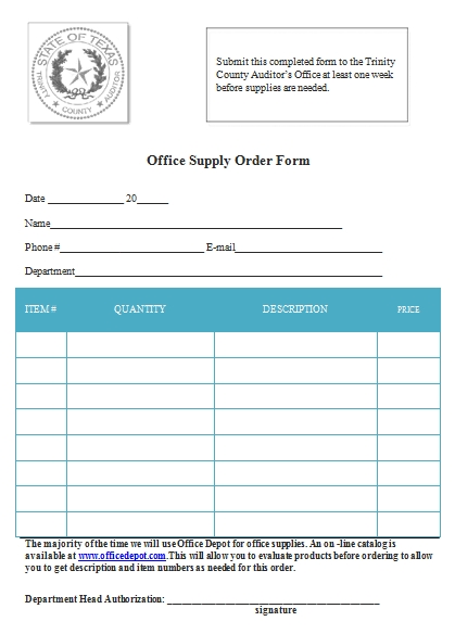 Templates Office Supply Order Example