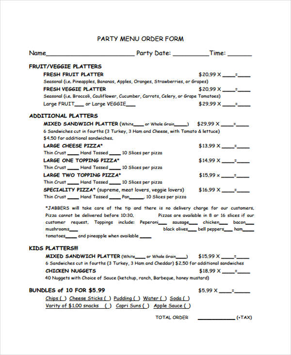 Templates Party Order Example