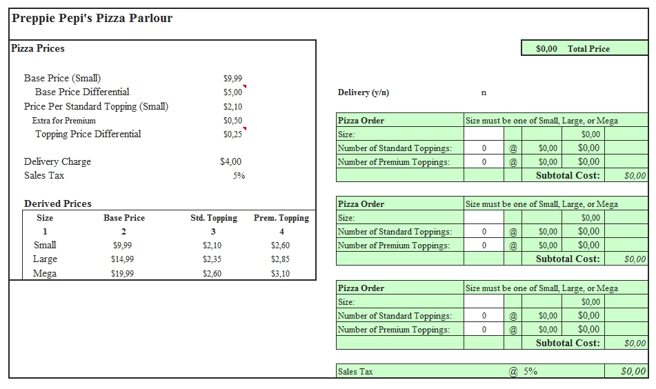 Templates Pizza Delivery Order Excel Format Example