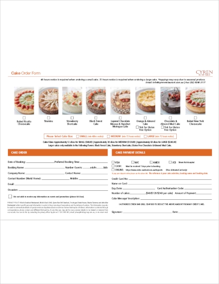 Templates Printable Cake Order Example