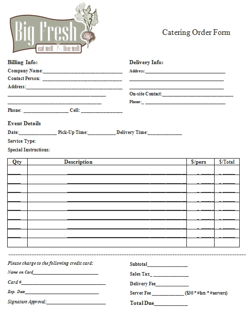 Templates Printable Catering Order Form Example
