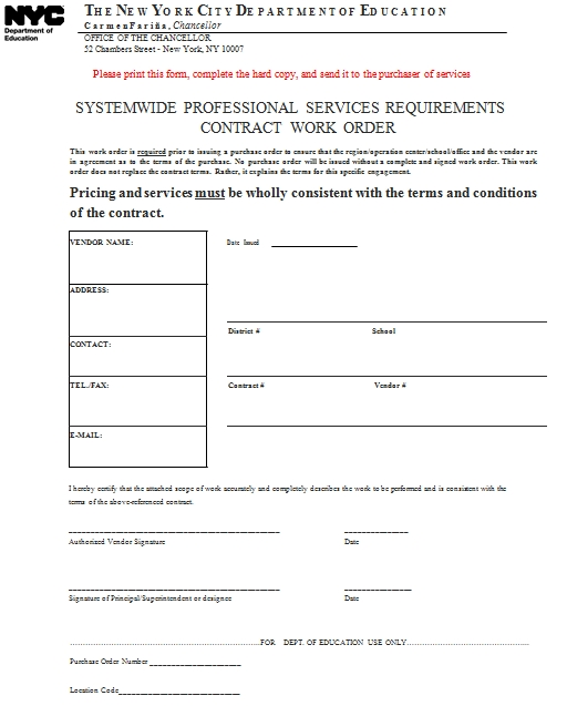 Templates Professional Service Work Order 1 Example