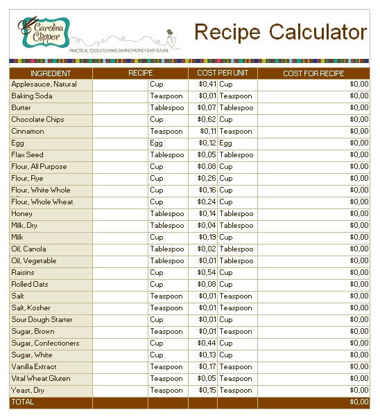 Templates Recipe Calculator for Bakery Order Excel Example