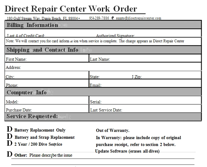 Templates Repair Center Work Order Example