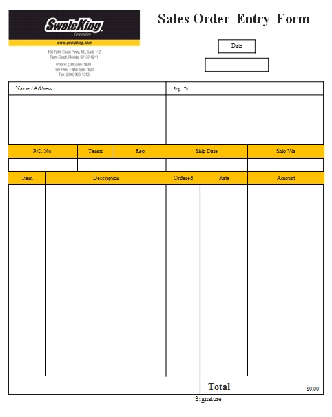 Templates Sales Order Entry Form Example