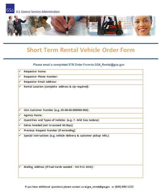 Templates Short Term Rental Vehicle Order Form Example