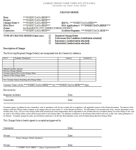 Templates Simple Document for Change Order Form Example