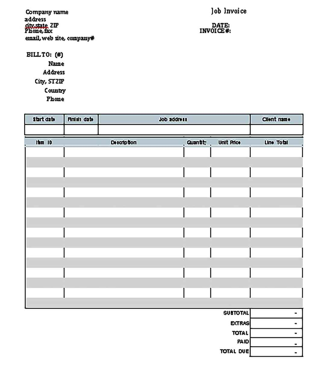 Templates Simple Invoice Example