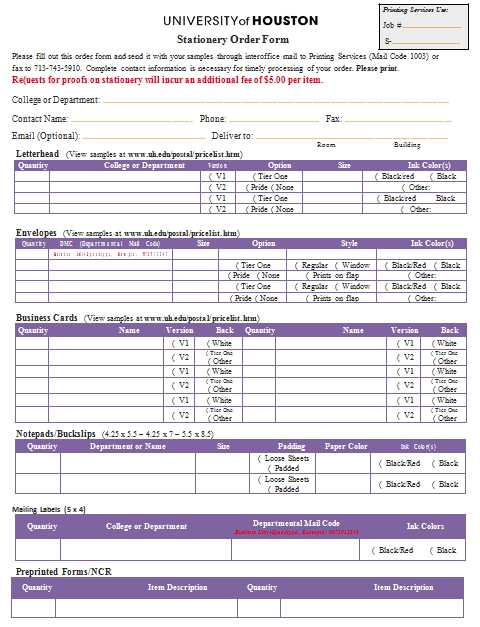 Templates Stationery Order In Example