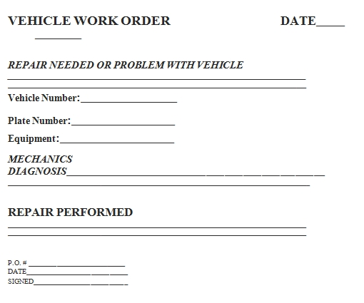 Templates Vehicle Work Order Example 1