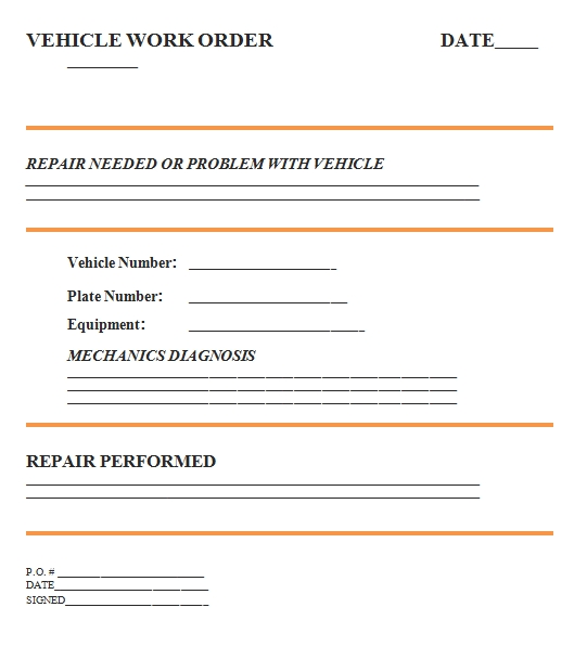 Templates Vehicle Work Order Example