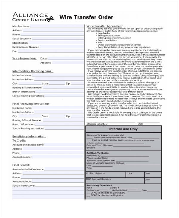 Templates Wire Order Example