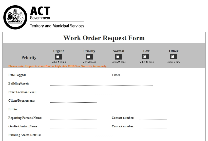 Templates Work Order Request Form 1 Example