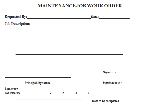 Templates Work Order for Maintenance Job Example