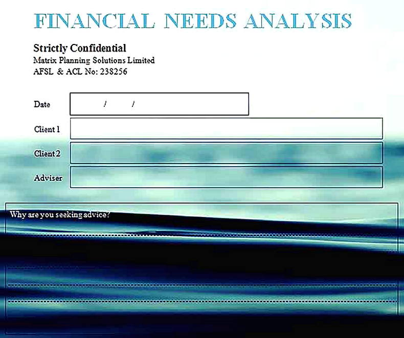 Templates for Blank Financial Needs Sample