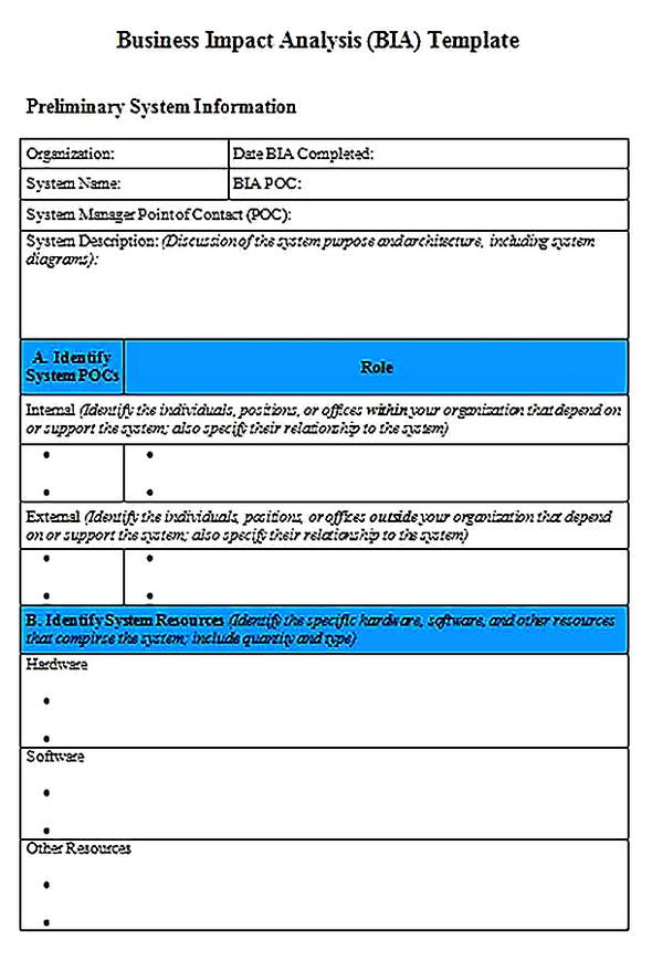 Templates for Business Impact Analysis BIA Word Format Sample