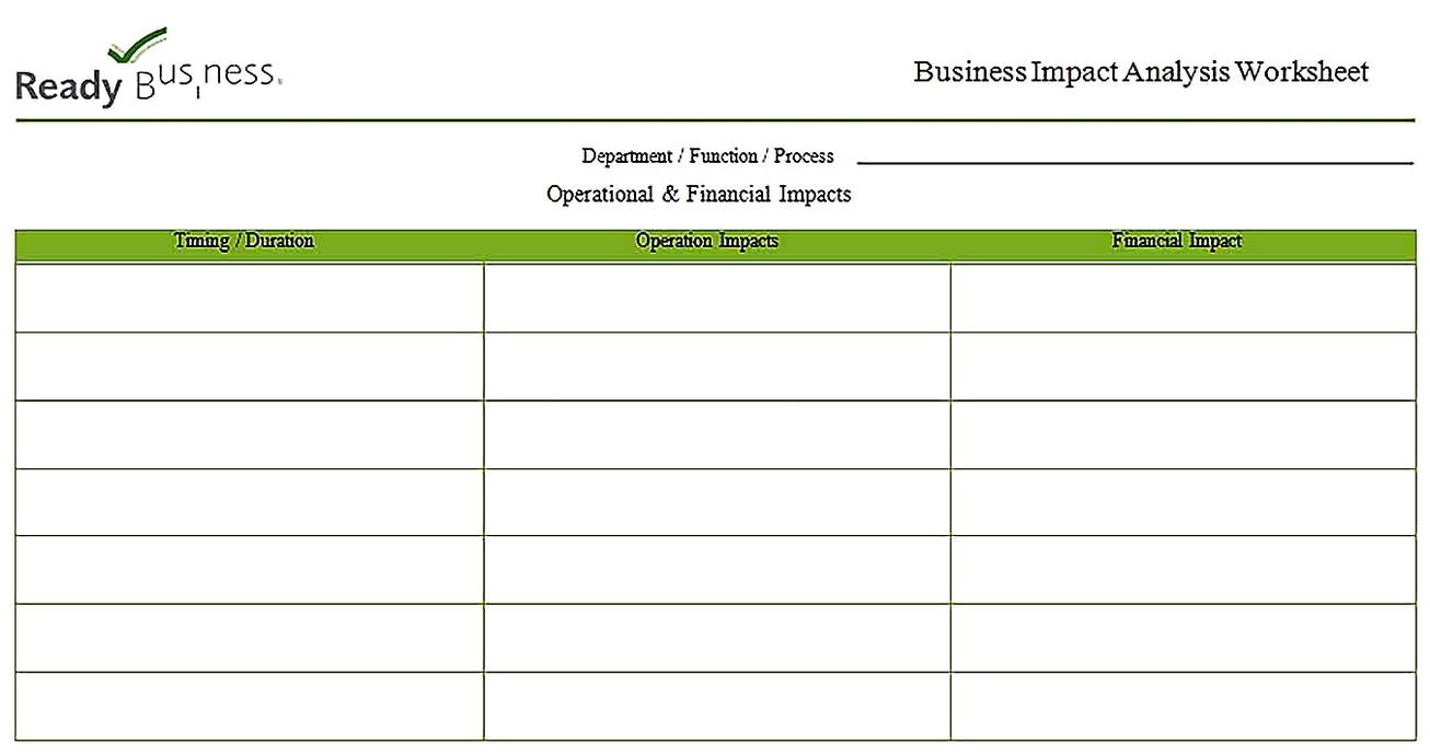 Templates for Business Impact Analysis Worksheet Sample