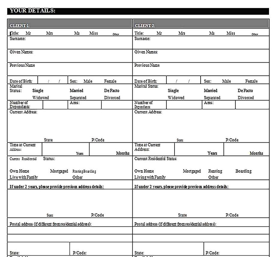 Templates for Client Needs Analysis 4 Sample