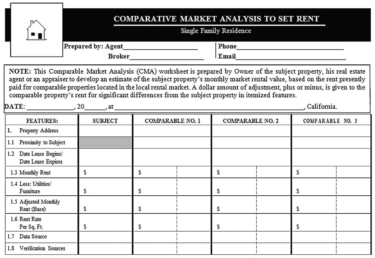 Templates for Comparative Market Analysis to Rent Sample