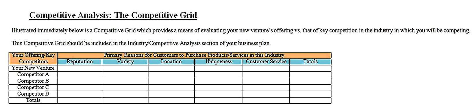 Templates for Competitive Analysis in Word Sample