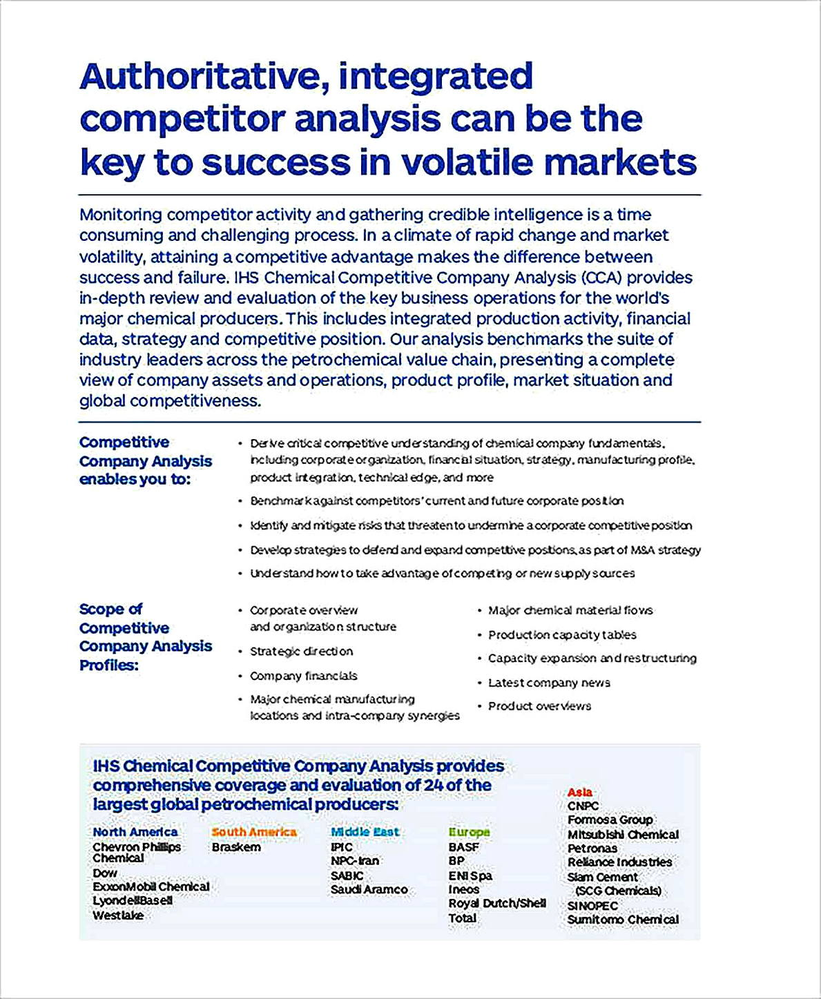 Templates for Competitive Company Analysis Sample