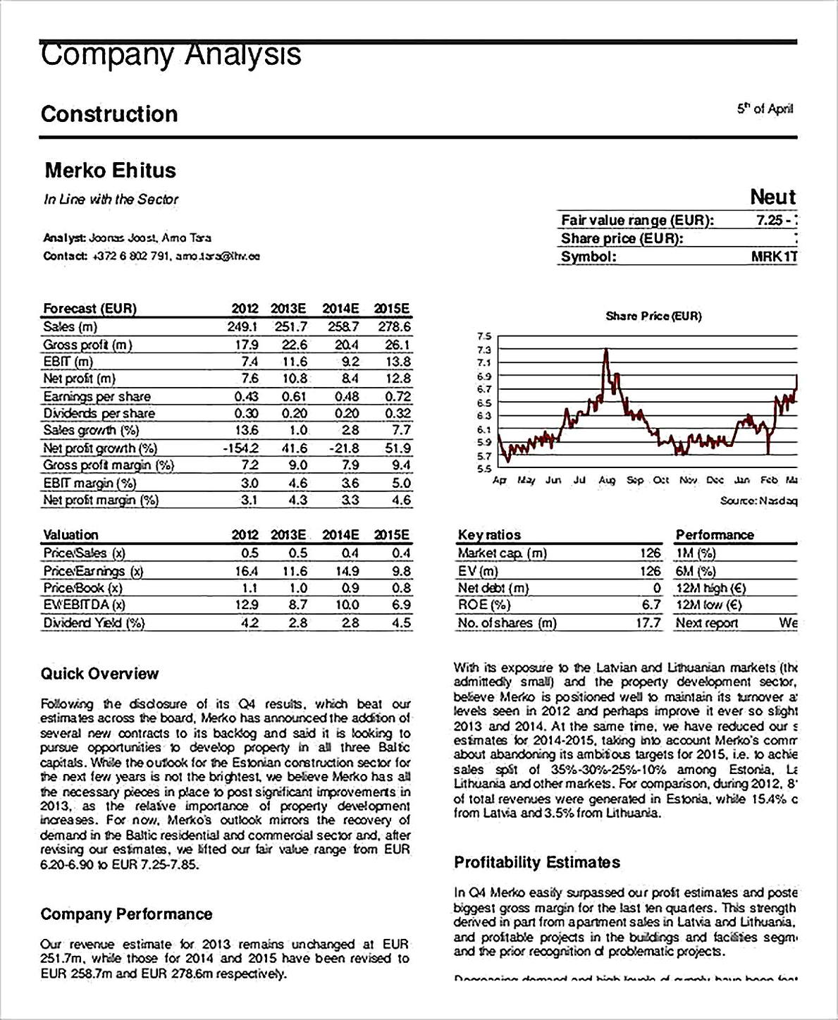 Templates for Construction Company Analysis Sample