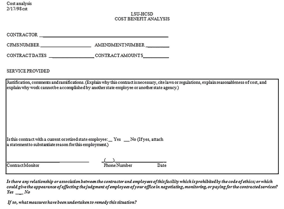 Templates for Cost Benefit Analysis Form Sample