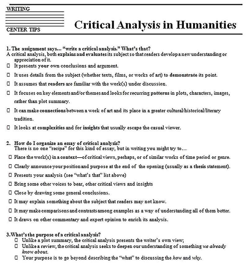 Templates for Critical Analysis in Humanities Sample