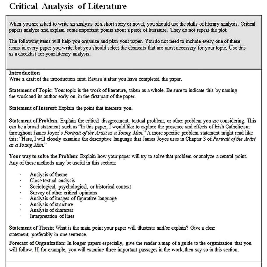 Templates for Critical Literary Analysis Sample